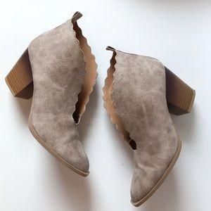 Qupid • Scalloped Cut Out Taupe Booties
